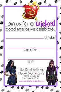 Descendants Party Invites