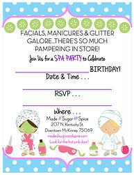 Spa Birthday Party Free Printable Invitatio