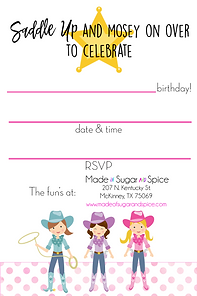 Cowgirl Party Invitations