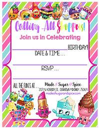 Shopkins Birthday Party Free Printable Invitation