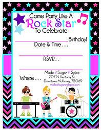 Rock Star Birthday Party Free Printable Invitation
