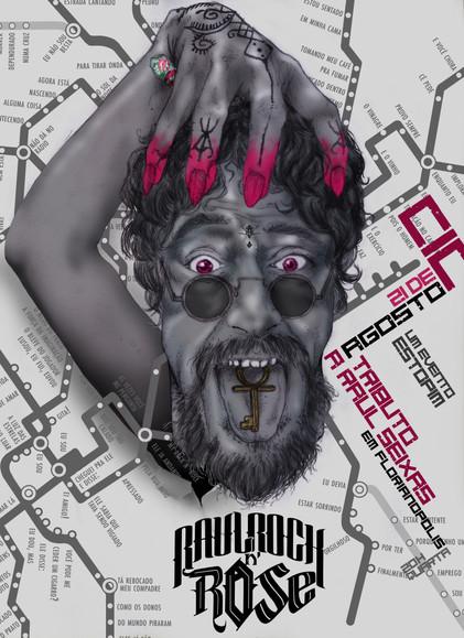 Cartaz de show em tributo a Raul Seixas