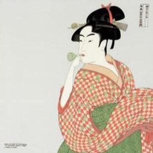 Furoshiki M: Utamaro Rayon Yuzen Dyeing | A Woman Playing A Poppin Light Gray