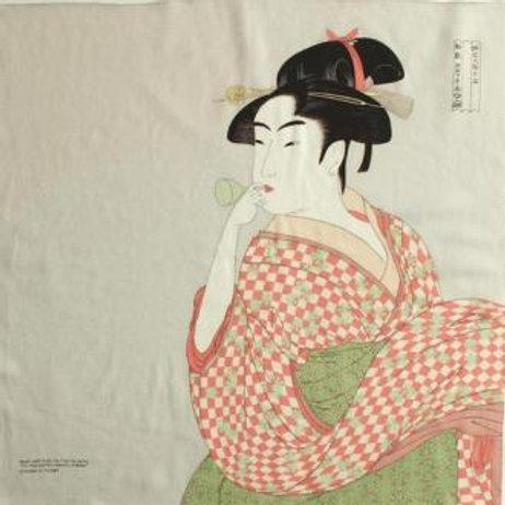 Furoshiki S size: Utamaro, A woman playing a glass