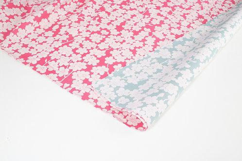 Furoshiki S:Isa monyo Reversible- Cherry Blossoms Cherry Pink/Mint