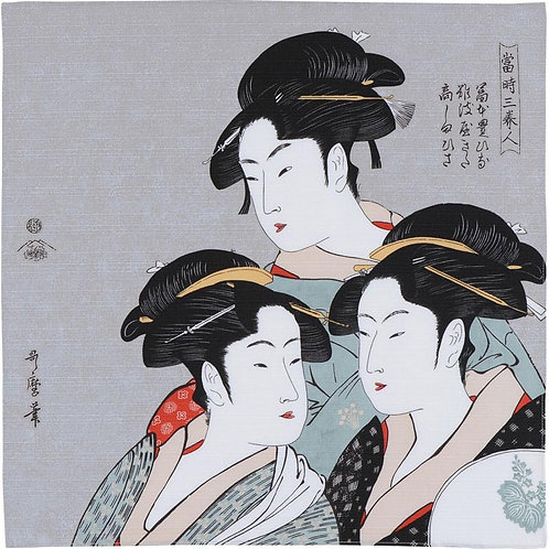 Furoshiki S size: Utamaro, The three beauties in kimono