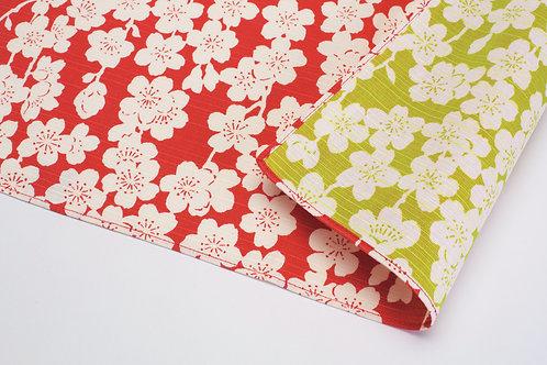 Furoshiki S: Cherry Blossoms, Red & Green