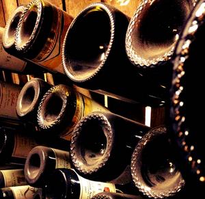 Bouteilles de vins en cave