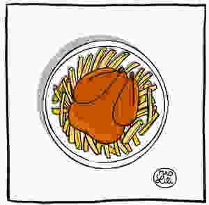 Dessin d'une assiette de Poulet-frites