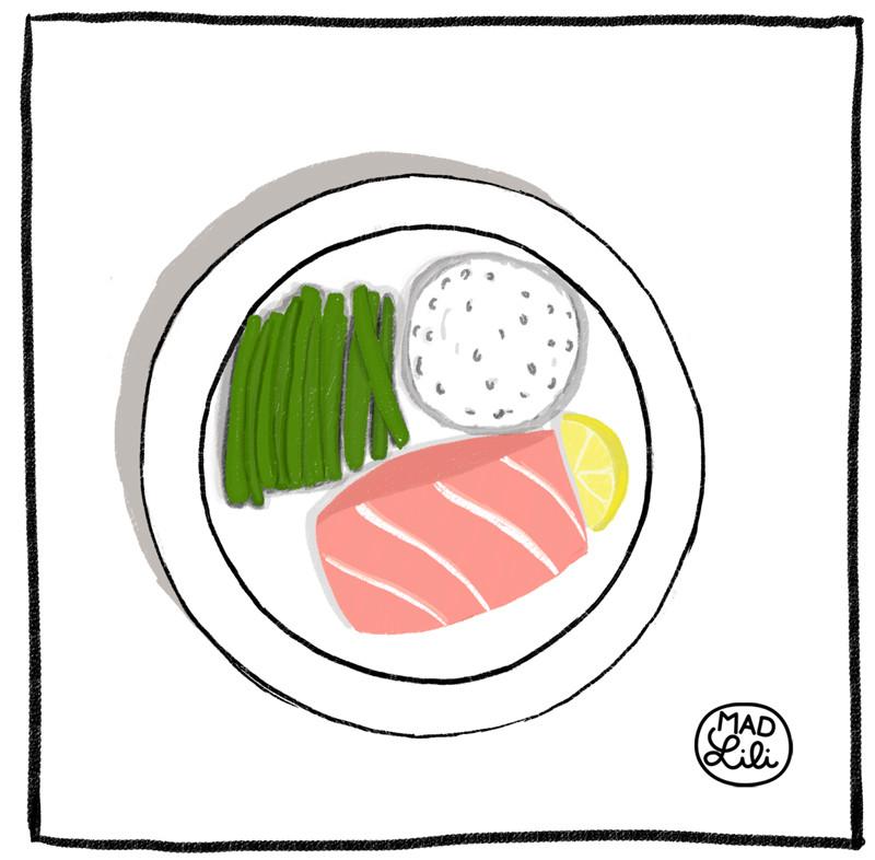 Dessin d'assiette de saumon avec haricots verts et riz