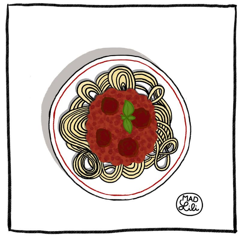 Dessin d'assiette de spaghettis bolognaise