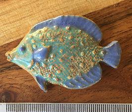 Ceramic Fish, in Aqua and Blue