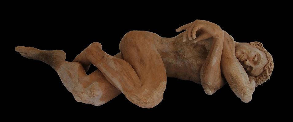 Nude male figurative sculpture by Australian sculpture artist, Stuart Meyer-Plath, sensual, reclining male nude ceramic sculpture, realistic, classical artwork, detailed realistic artwork