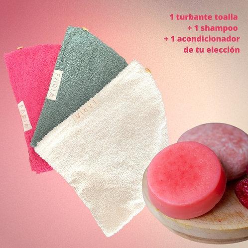 1 Turbante Toalla + 1 Shampoo Sólido + 1 Acondicionador Sólido