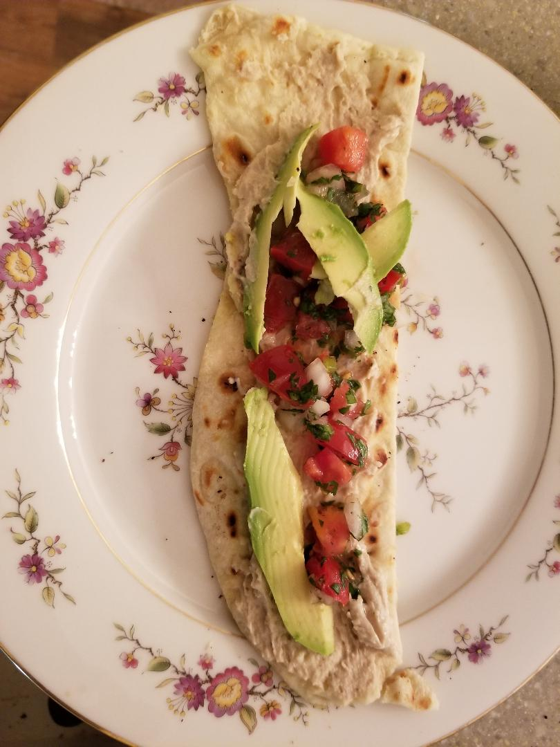 grilled pizza hummas salsa avacado