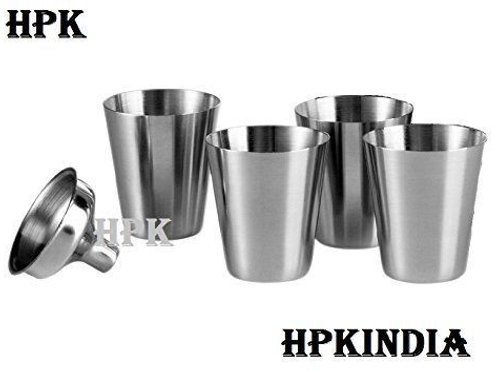 HPK Stainless Steel Funnel With 4 Stainless Steel Mini Glasses