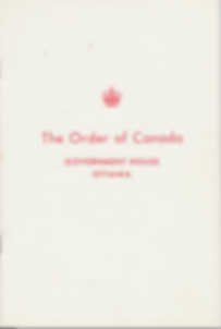 Order of Canada booklet; Order of Canada