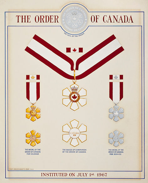 Order of Canada 1967, Companion of the Order of Canada; Medal of Service of the Order of Canada; Medal of Courage of the Order of Canada