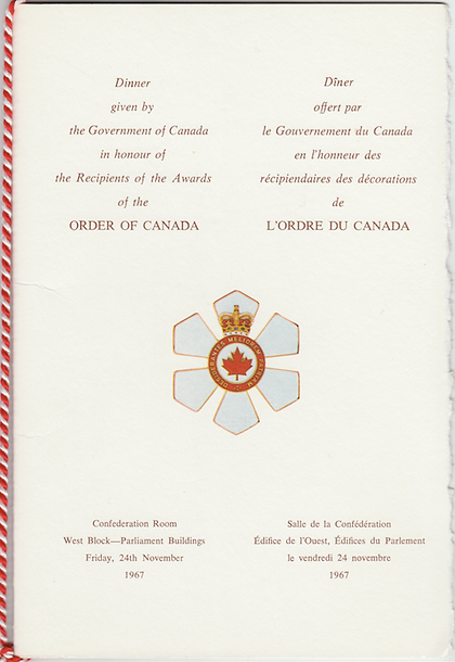 Order of Canada; Order of Canada 1967; Investiture Dinner