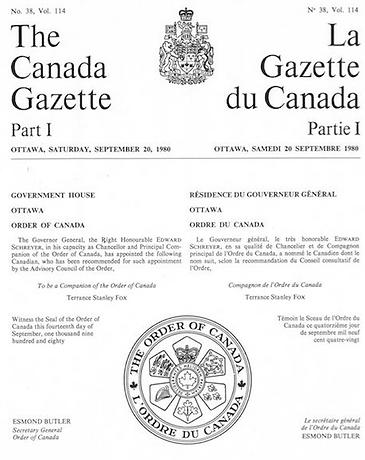 Canada Gazette; Order of Canada; Terry Fox; Esmond Butler; Order of Canada