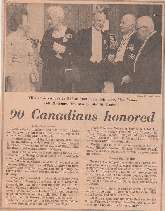 Order of Canada; canada honours; canadian honours; Roland Michener; Norah Michener; Pauline Vanier; Vincent Massey; Louis St. Laurent; Governor General; Canada Prime Minister