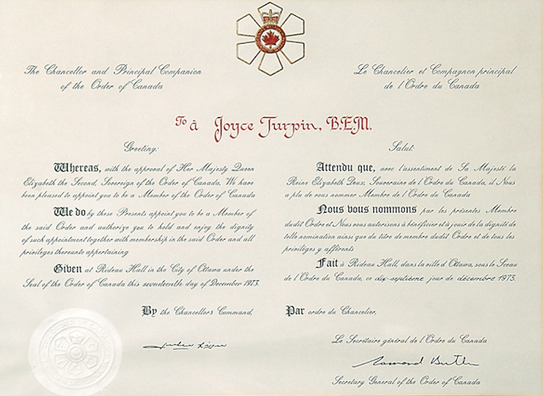 Order of Canada scroll; order of canada certificate; order of canada seal; order of canada; canada honours; canadian honors