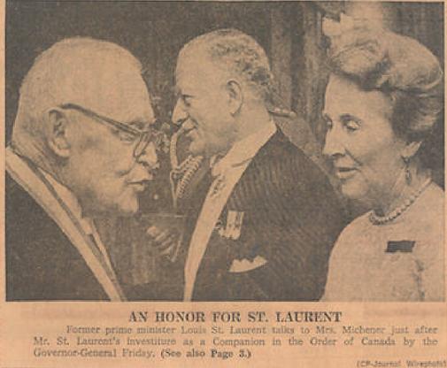 Order of Canada; Roland Michener; Norah Michener; Rideau Hall