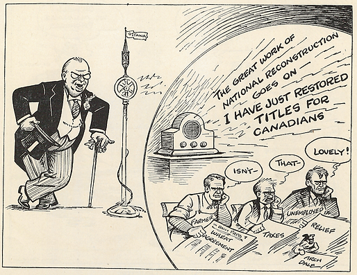 R.B. Bennett; Canada prime minister cartoon; Nickle Resolution; Canada titles; Canada knighthoods