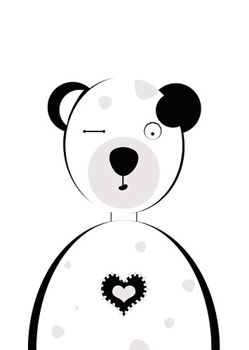 Bär schwarz - weiß