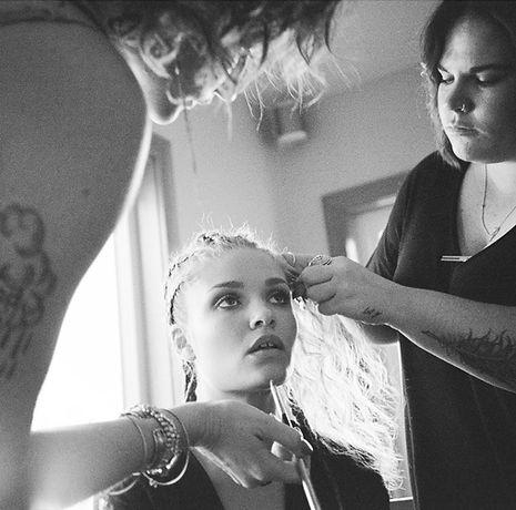 Jade Goodwin, model, American model, hair and makeup, behind the scenes photoshoot, hair artist, makeup artist, Janelle Corey, Lauren Nicole McKeever