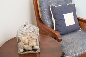 Beach drift rocks? YES! Our decor signature.
