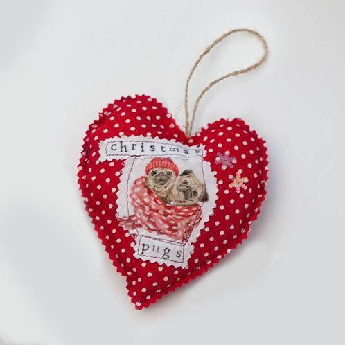 Hanging Heart - Dog - Christmas Pugs