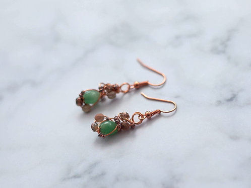 Rose Gold Plated Earrings - Jade & Gold