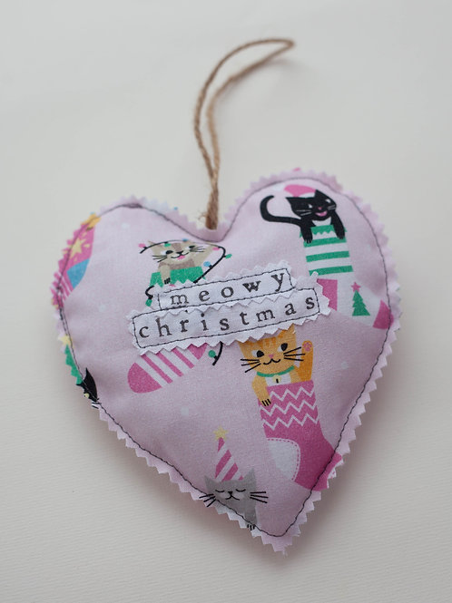 Hanging Heart - Stocking Cats - Meowy Christmas