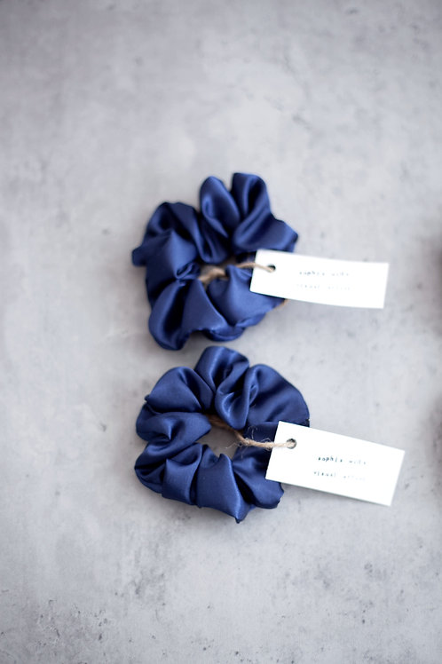 Satin Scrunchies - Set of 2 - Navy Blue