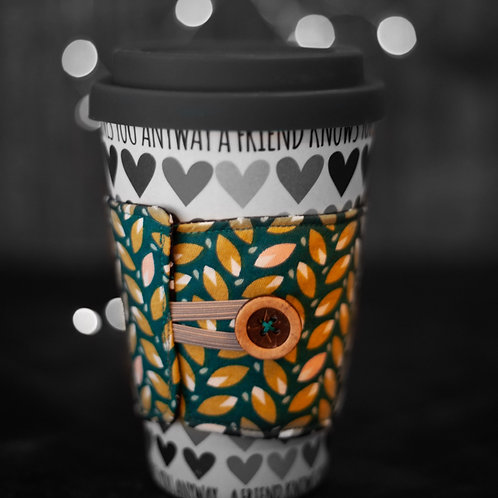 Coffee Cup Cosy - Retro Leaf