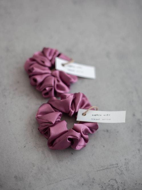 Satin Scrunchies - Set of 2 - Dusky Pink