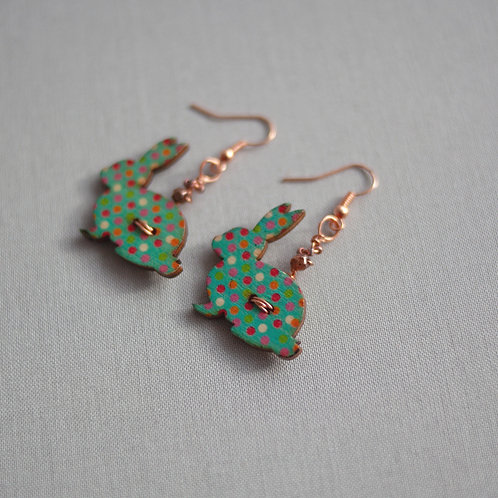 Rose Gold Plated Earrings - Rabbit Button