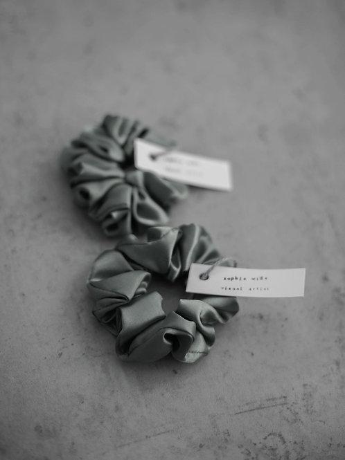 Satin Scrunchies - Set of 2 - Pewter Grey