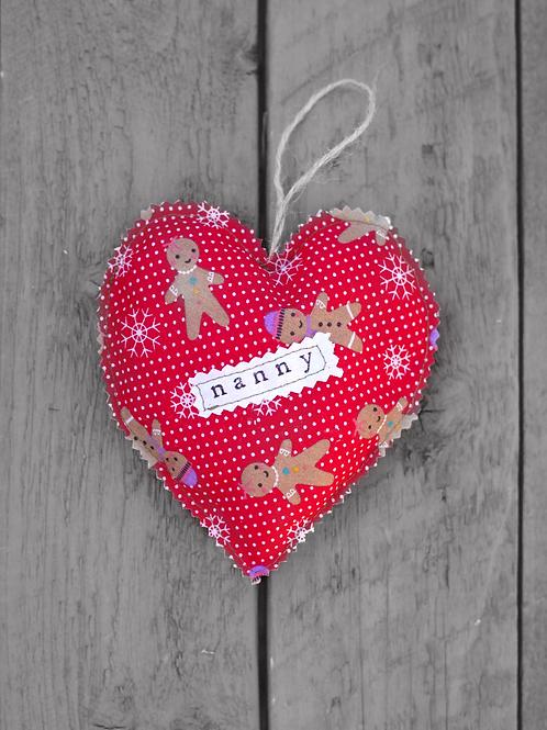 Hanging Heart - Gingerbread - Nanny, Grandma