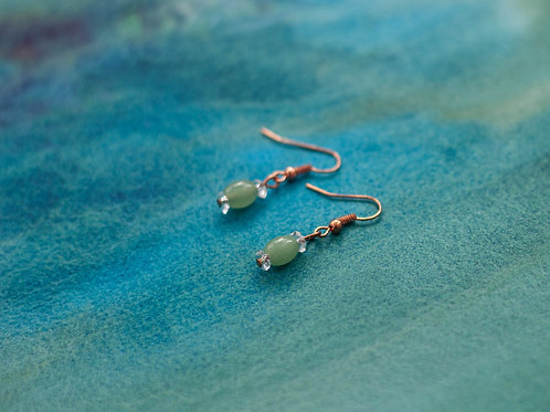 Rose Gold Plated Earrings - Jade & Crystal