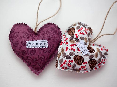 Hanging Hearts Set - Christmas - Peace & Joy