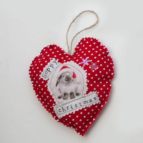 Hanging Heart - Bunny Rabbit - Hoppy Christmas