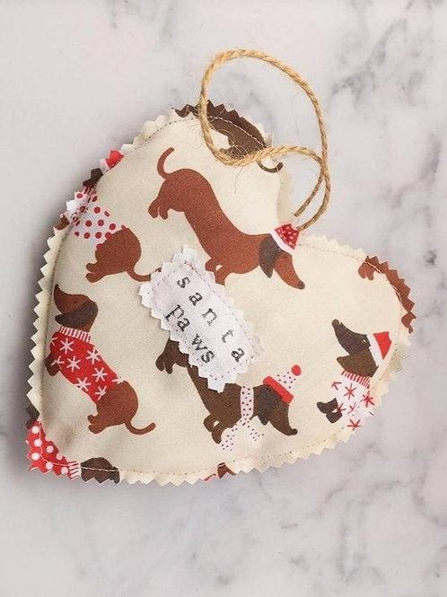 Hanging Heart - Christmas - Santa Paws Dog