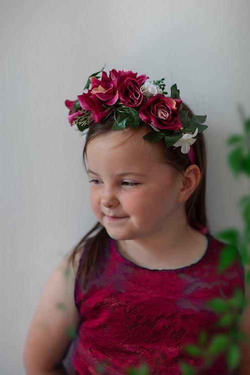 Flower Crown - Dark Pink Rose - One Size