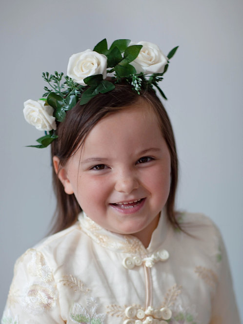 Flower Crown - White Rose - One Size