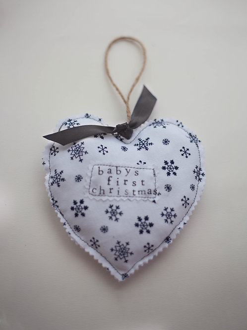 Hanging Heart - Snowflake - Baby's First Christmas