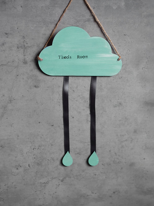 Room Sign - Personalised Cloud - Mint