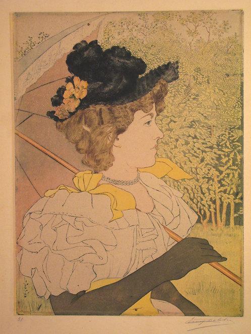 Eugène DELÂTRE (1854-1938).   Femme au Parasol.