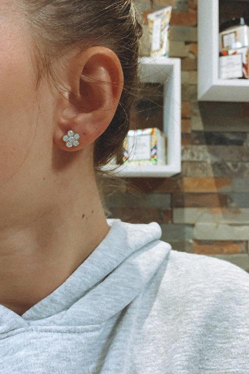 Boucle d'oreille fleur «diamant»